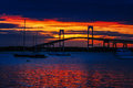The Newport Bridge at Sunset, Newport, RI. Royalty Free Stock Photo