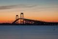 Newport Bridge Sunset Royalty Free Stock Photo