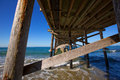 Newport pier beach in california usa from below seen Stock Photos