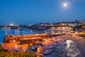 Newquay cornwall england full moon over the harbour and town at uk Stock Images