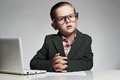 News anchor little boy. funny child headline tv Royalty Free Stock Photo