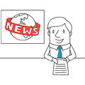 News anchor in tv studio reading the news vector illustration of a monochrome cartoon character sitting at his desk a Royalty Free Stock Images