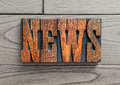 News background word antique wooden letterpress blocks Royalty Free Stock Photography