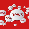 News balloons on a red background abstract d paper graphics Royalty Free Stock Photography