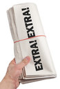 News extra newspaper roll with white background Royalty Free Stock Image