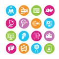 News icons and communication in colorful round buttons Royalty Free Stock Images