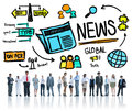 News journalism information publication update media advertisment concept Stock Photos