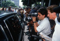 News Media near black limo, O.J. Simpson trial Stock Image