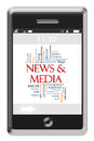 News & Media Word Cloud Concept on Touchscreen Phone Royalty Free Stock Image