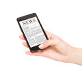 News on mobile phone smart phone isolated white Royalty Free Stock Photo