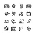 News, newspaper, speech technology, media vector icons Royalty Free Stock Photo