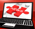 News Puzzle On Notebook Showing Digital Newspapers Royalty Free Stock Photo