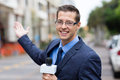 News reporter broadcasting happy in live on street Stock Photos