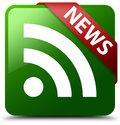News RSS icon green square button Royalty Free Stock Photo