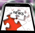 News Smartphone Means Online Updates And Headlines Royalty Free Stock Photos