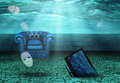 News sunken tv chair and floating masks in undwerwater desert Stock Photos