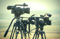 News video cameras professional waiting in line Royalty Free Stock Photography