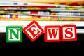News word near many newspapers Stock Photo
