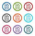 Newsletter document page icon flat round buttons set illustration design
