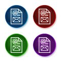 Newsletter document page icon shiny round buttons set illustration