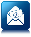 Newsletter email icon blue square button Royalty Free Stock Photo