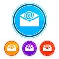 Newsletter email icon flat design round buttons set illustration design