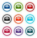 Newsletter email icon flat round buttons set illustration design