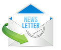 Newsletter envelope illustration design on white illustration Royalty Free Stock Images
