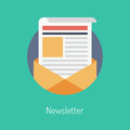 Newsletter flat illustration concept design modern vector of regularly distributed publication via e mail with some topics of Stock Photo