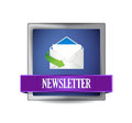 Newsletter glossy blue icon illustration design over white Royalty Free Stock Images