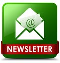 Newsletter green square button red ribbon in middle Royalty Free Stock Photo