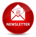 Newsletter elegant red round button Royalty Free Stock Photo