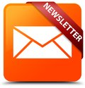 Newsletter orange square button red ribbon in corner Royalty Free Stock Photo