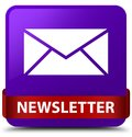 Newsletter purple square button red ribbon in middle Royalty Free Stock Photo