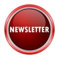 Newsletter round metallic red button Royalty Free Stock Photo