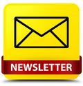 Newsletter yellow square button red ribbon in middle Royalty Free Stock Photo