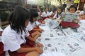 Newspaper clippings some students do clipping in solo central java indonesia activities are aimed at making the students can sort Royalty Free Stock Images
