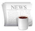 Newspaper and coffee cup folded white of hot Royalty Free Stock Photography