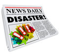 Newspaper disaster headline crisis trouble alert the word on a to or update you on important information on a problem or emergency Royalty Free Stock Image