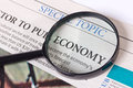 Newspaper economic article Royalty Free Stock Photo