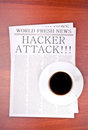 Newspaper HACKER ATTACK Royalty Free Stock Photography