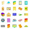 Newspaper icons set, cartoon style Royalty Free Stock Photo