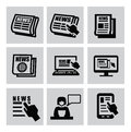 Newspaper icons vector black set on gray Stock Photo