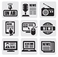 Newspaper media icons Stock Photos