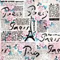 Newspaper Paris with roses
