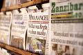 Newspaper stand in Zanzibar Royalty Free Stock Photo