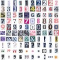 Newspaper symbols and numbers Royalty Free Stock Photo