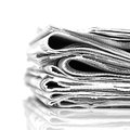Newspapers stack black and white image Stock Images