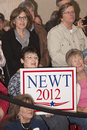 Newt Gingrich supporter with sign. Stock Photo