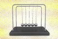 Newton s cradle in halftone background named after sir isaac is a device that demonstrates conservation of momentum and energy via Royalty Free Stock Image
